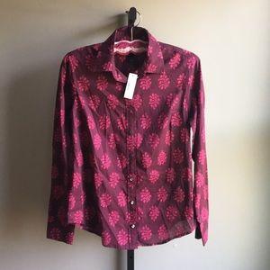 J.Crew Perfect Button Down Print Shirt Size 2 NWT